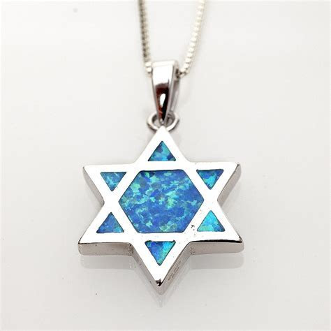 Jewish Jewelry Judaica Jewish Star Necklace Silver Opal