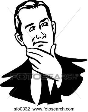 Clip Art - A man thinking with his hand on his chin. Fotosearch - Search Clipart, Illustration Posters, Drawings, and EPS Vector Graphics Images