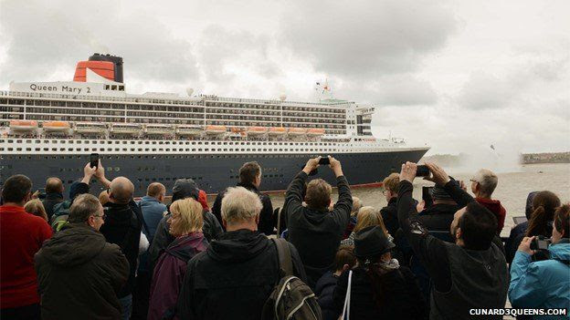Queen Mary 2 leaves Liverpool to meet sister Liners Queen Elizabeth and Queen Victoria