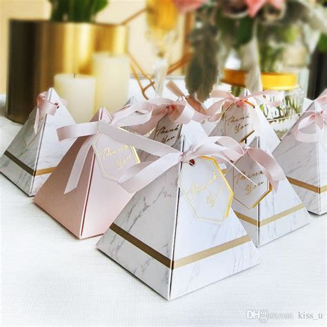 New Creative Candy Box Triangular Pyramid Marble Style