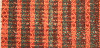 A closer look at how the variegated weft interacted with the colored warp stripes.