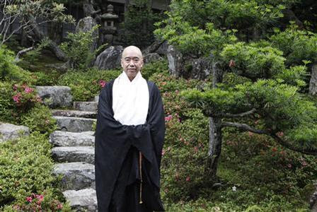 Japanese Buddhist monk Ryusho Soeda poses for a photograph during an interview with Reuters at his temple in Koyasan in Koya, Wakayama prefecture, June 25, 2013. REUTERS-Hideyuki Sano