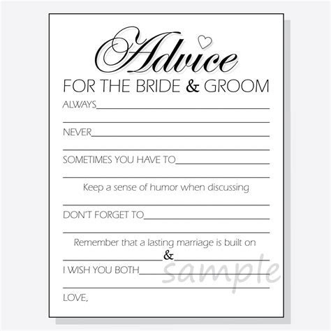 DIY Advice for the Bride & Groom Printable Cards for a shower