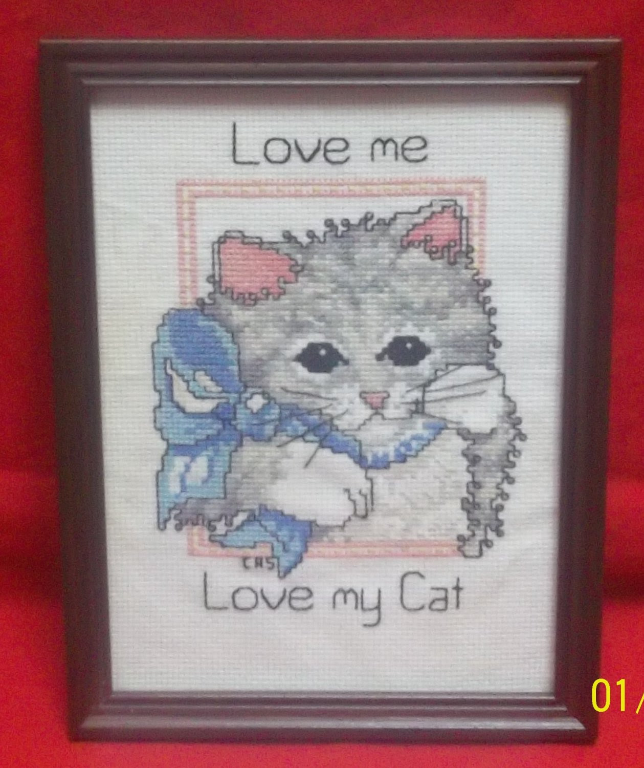 Love Me Love My Cat Framed Cross Stitch Sampler Picture Cutewell
