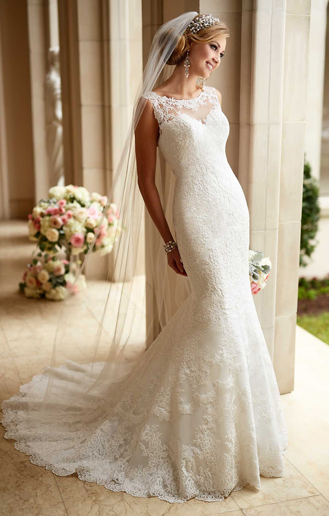 Scoop Neck Sleeveless Mermaid Lace Wedding Dress _2