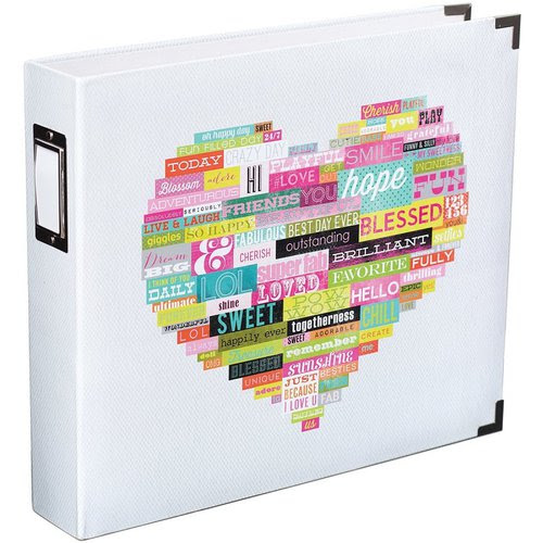 Becky Higgins - Project Life - Heidi Swapp Collection - Album - 12 x 12 D-Ring - Printed White - Heart
