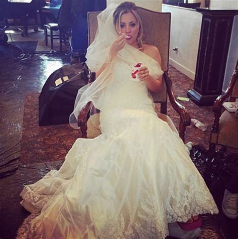 Kaley Cuoco wears white gown in Instagram photo   NY Daily