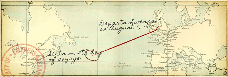 Route of the ill-fated voyage (click to enlarge)