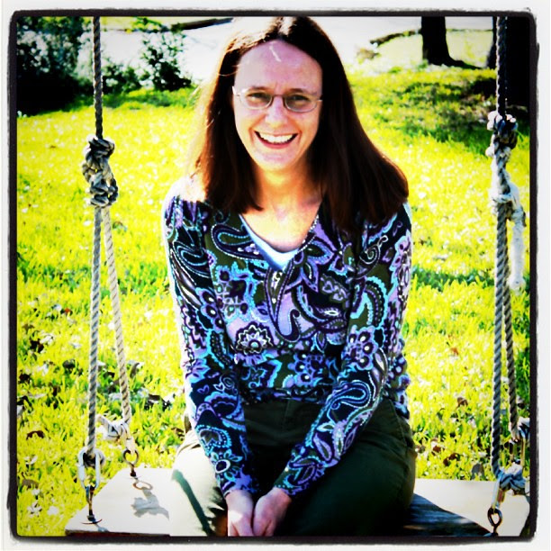 My aunt on her swing