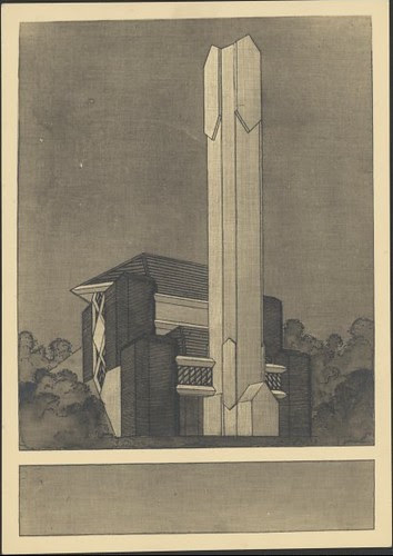 Perspective view of Brunswick incinerator, Brunswick, Victoria 1934