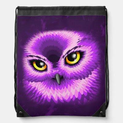 Pink Owl Eyes Drawstring Backpack