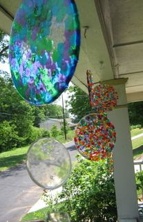 *Layer cheap plastic beads in cake pans (no lining required), melt at 400 degrees for 20 minutes. Let cool & then flip them out. Drill a hole in it to make it a suncatcher.