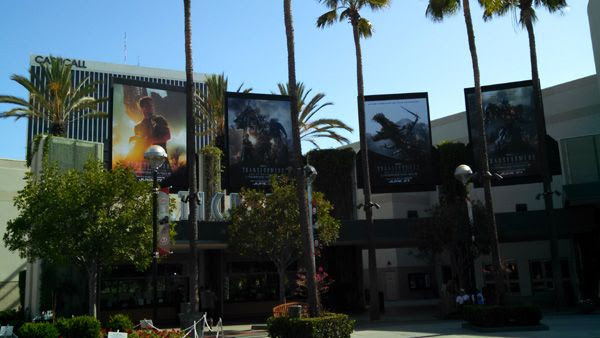 Advertisements for TRANSFORMERS: AGE OF EXTINCTION outside the AMC 30 theater in Orange, California.
