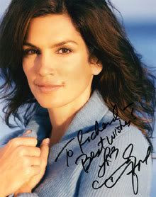 My autographed 8x10 photo by Cindy Crawford.