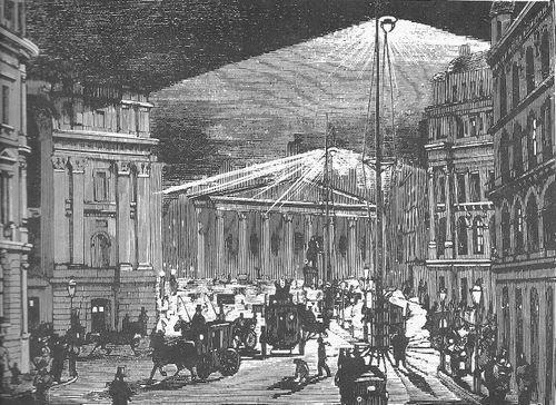 Arc lights on london streets