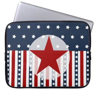Patriotic Stars and Stripes American Flag Design Computer Sleeve