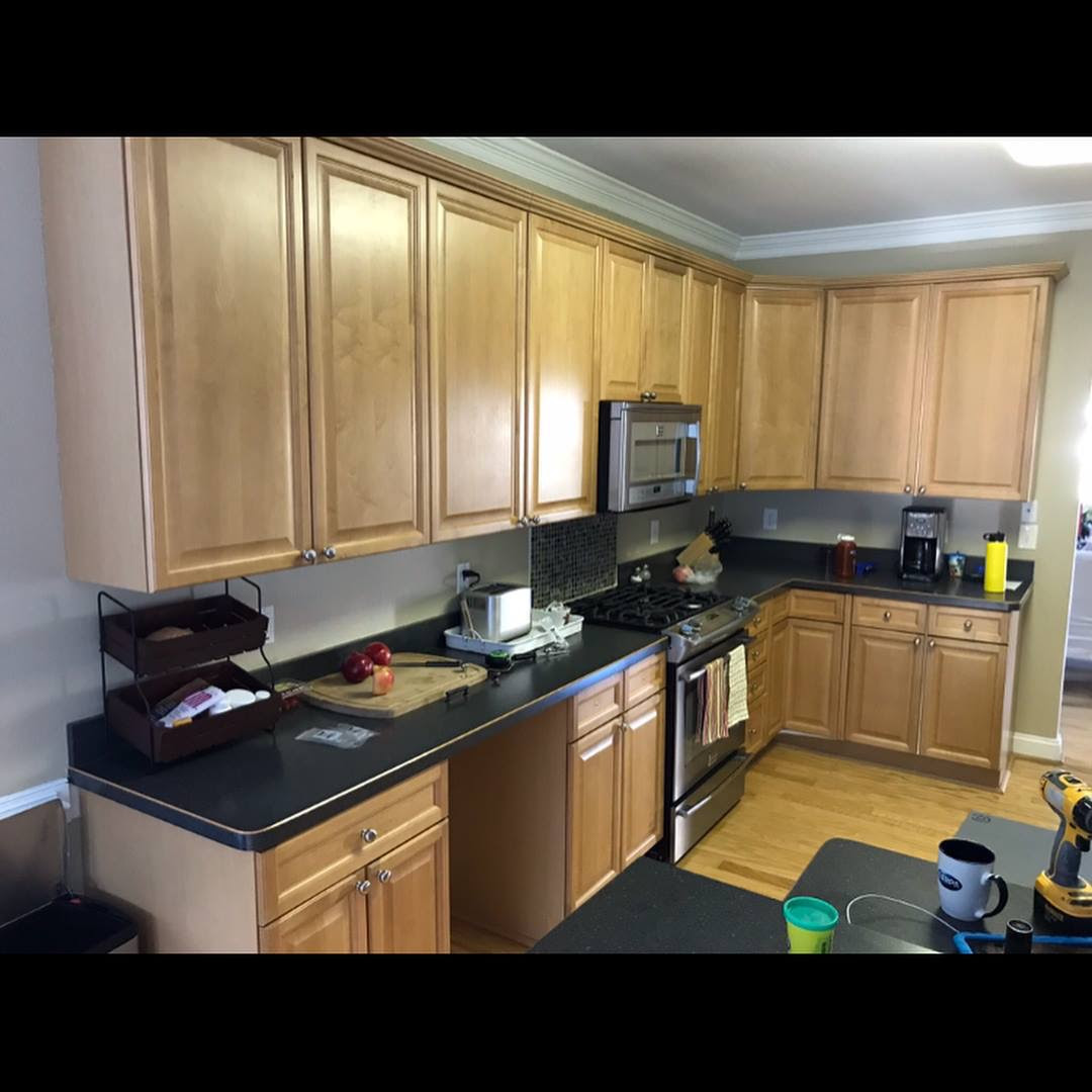 BUILDER GRADE MAPLE CABINETS TO WHITE | Complete Cabinet ...