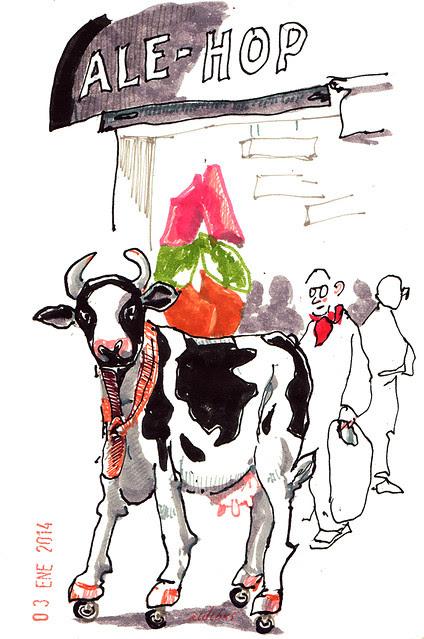 vaca sobre ruedines