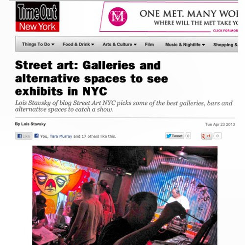 Check out my list in this week's TimeOut NY. Lots of other great ones, too!  So keep posted to the StreetArtNYC Facebook page! by LoisInWonderland
