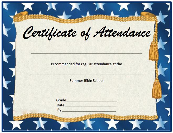 Perfect Attendance Certificate Template   Microsoft Word Templates