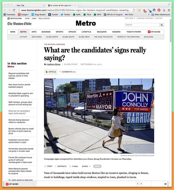 In a time of the signs for Boston's mayoral candidates, the meaning of blue, red, and font size - Metro - The Boston Globe