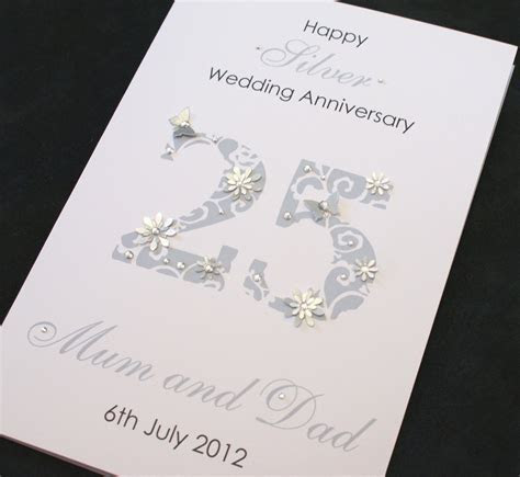 LARGE Handmade Personalised 25th SILVER Wedding