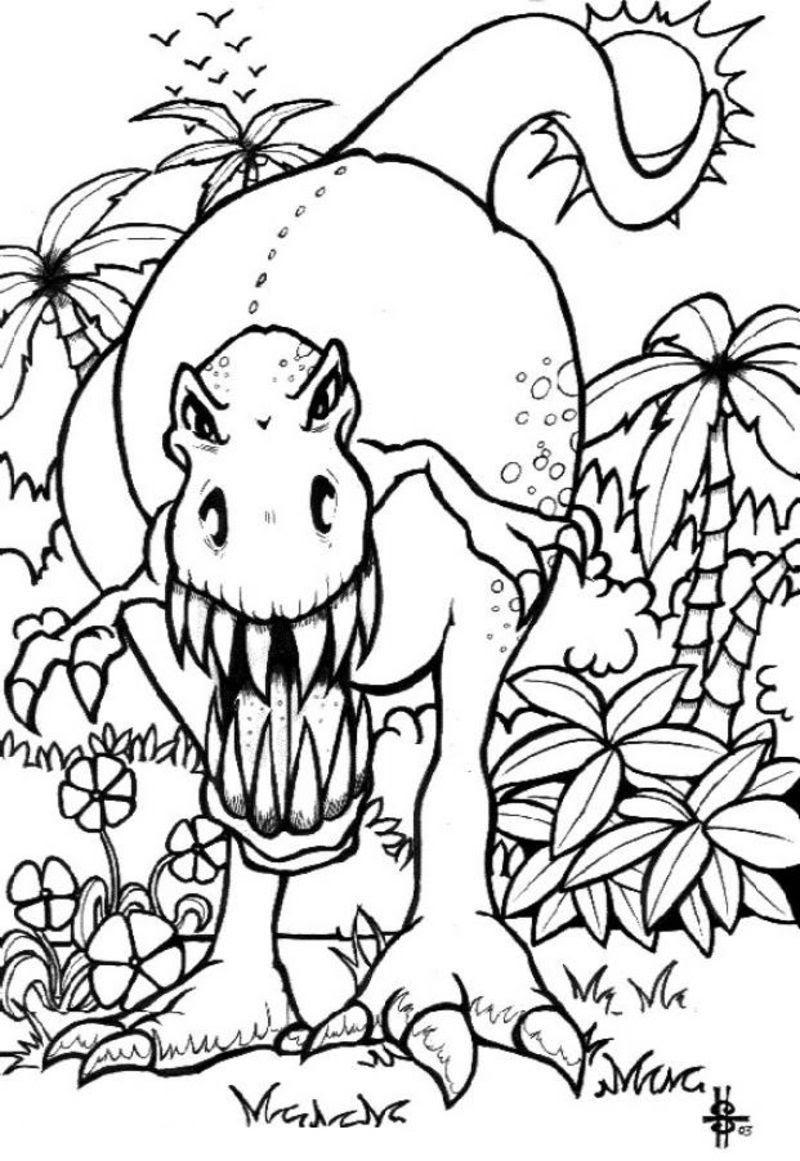 coloriage dinosaure effrayant elx