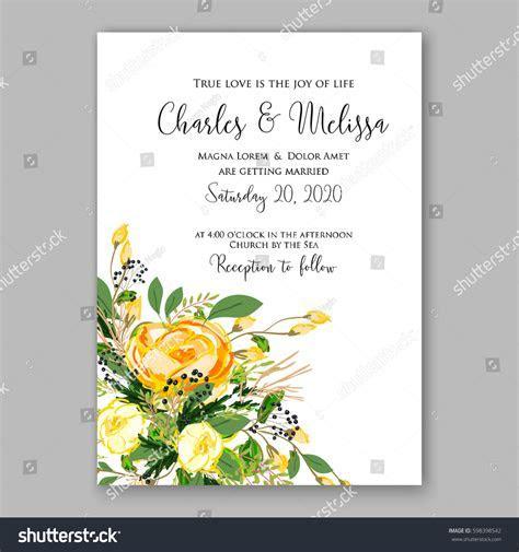 Wedding Invitation Card Template Yellow Rose Stock Vector