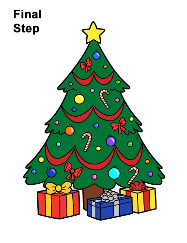 How To Draw Christmas Tree With Gifts Howto Techno