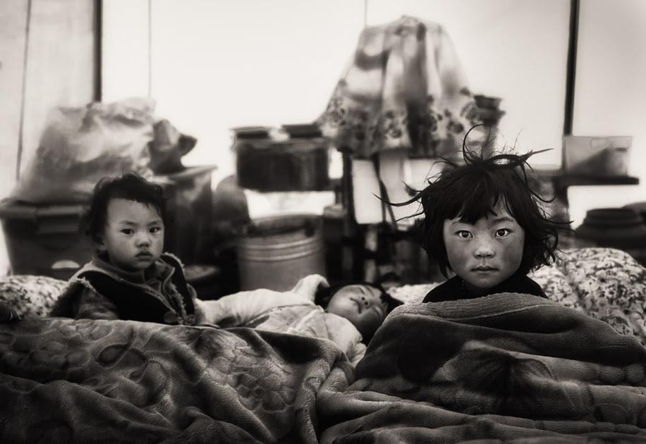 Tibetan kids waking up in the morning. Tibetan plateau