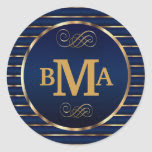 Monogram Initials in Dark Blue & Gold Classic Round Sticker