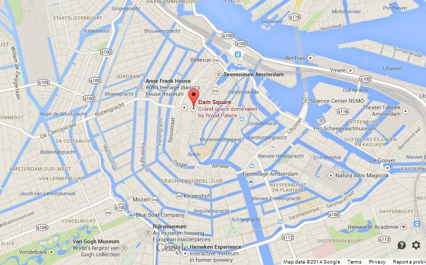 Dam Square on Map of Netherlands