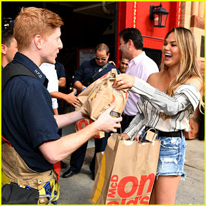 Chrissy Teigen Delivers McDonald's Meals to Firefighters!