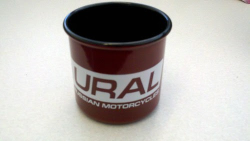 Metal Ural mug from my no long anonymous gifter. A HD guy in my building won them as door prizes. Very cool.