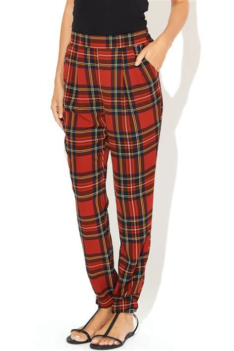 See You Monday Red Tartan Print Pants from Glendale by