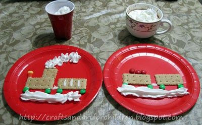 Polar Express Movie Day featuring crafts, activities, and a cute graham cracker train snack!
