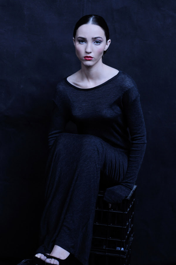 In Development Maille - L/S Cowl Arm T-Shirt - Charcoal Marle Editorial Fashion Story shot on black canvas background