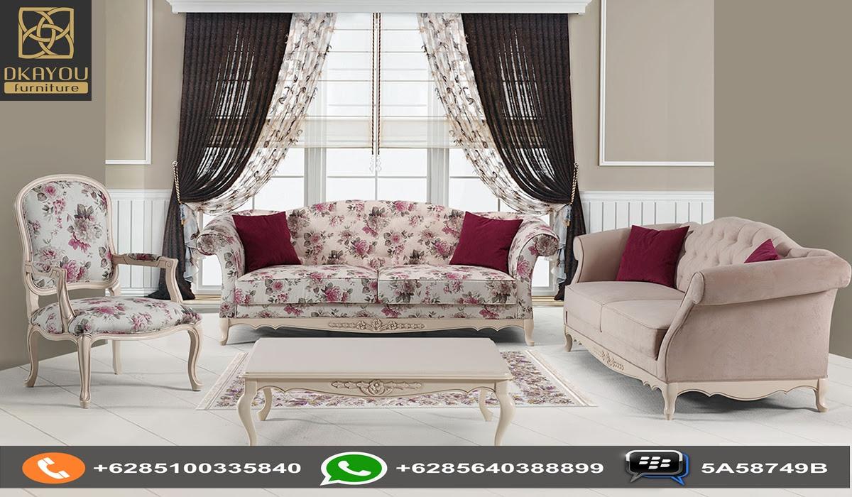 Set Sofa Ruang Tamu Shabby Floral Dkayou Furniture Indonesia