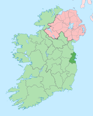 English: The island of Ireland, showing intern...