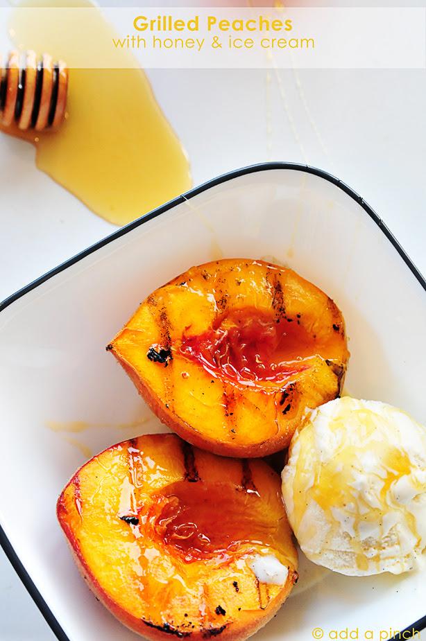 Grilled Peaches with Honey & Vanilla Ice Cream