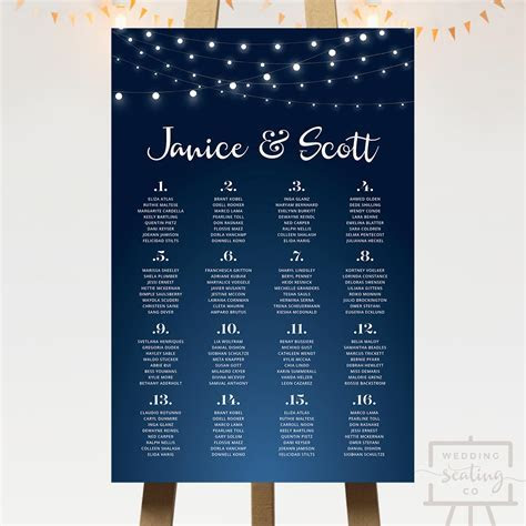 Fairy Lights Wedding Seating Chart   Wedding Seating Co