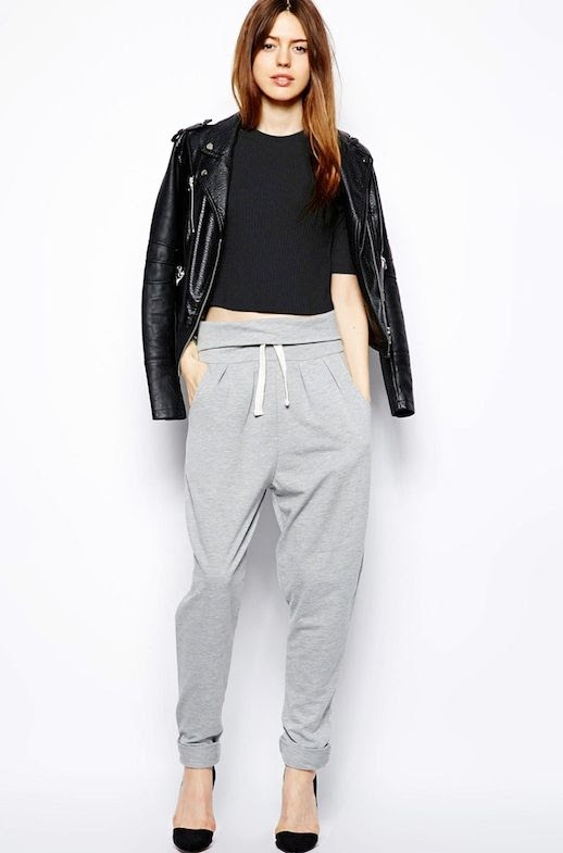 LE FASHION BLOG COOL SLOUCHY GREY MARL SWEATPANTS WITH HEELS LEATHER MOTO JACKET CROP TOP UNDER 50 DOLLARS OVERFOLD WAIST DRAWSTRING CASUAL CHIC LOOK INSPIRATION photo LEFASHIONBLOGCOOLSWEATPANTS.jpg