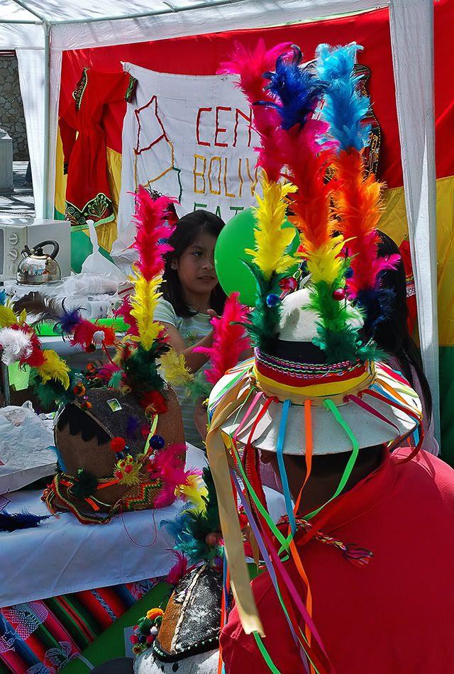 Colorful Bolivian Tinted Feather Hat, Moll de la Fusta, Barcelona, Spain [enlarge]