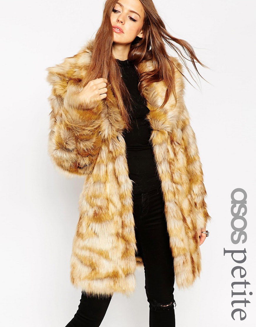 Image 1 of ASOS PETITE Coat in Pelted Vintage Faux Fur & Shawl Collar
