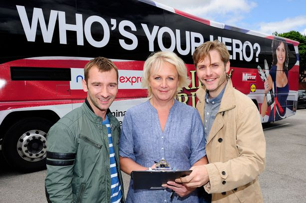 Coronation Street stars Charlie Condu, Toby Sawyer and Sue Cleaver come out to see the Daily Mirror Pride of Britain Bus