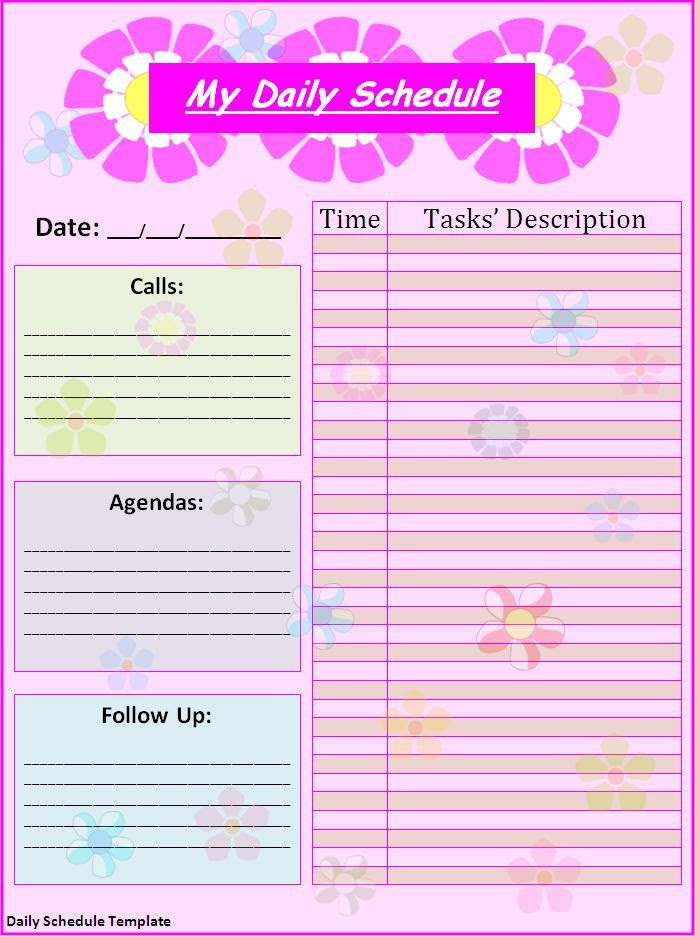 1000+ ideas about Daily Schedule Template on Pinterest   Schedule ...