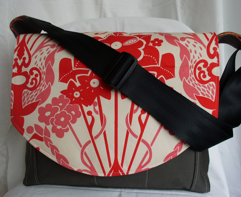 Handmade Messenger/Diaper Bag - Nouveau Blossom- Made to Order