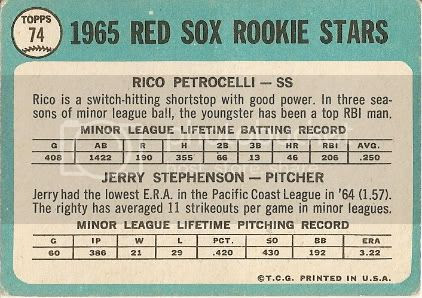 #74 Red Sox Rookie Stars: Rico Petrocelli and Jerry Stephenson (back)