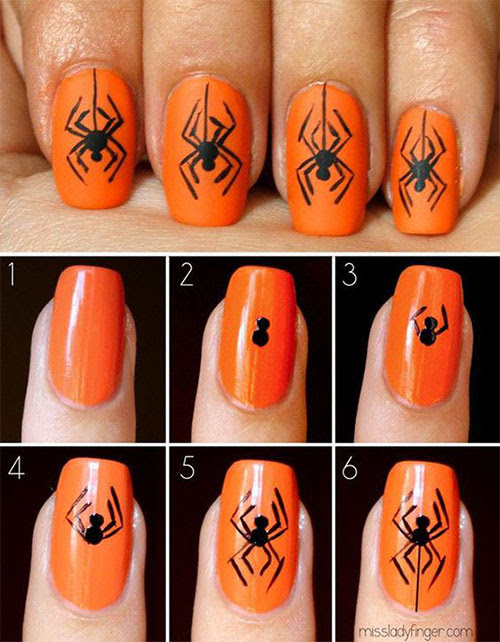 18 Easy Step By Step Halloween Nails Art Tutorials For ...