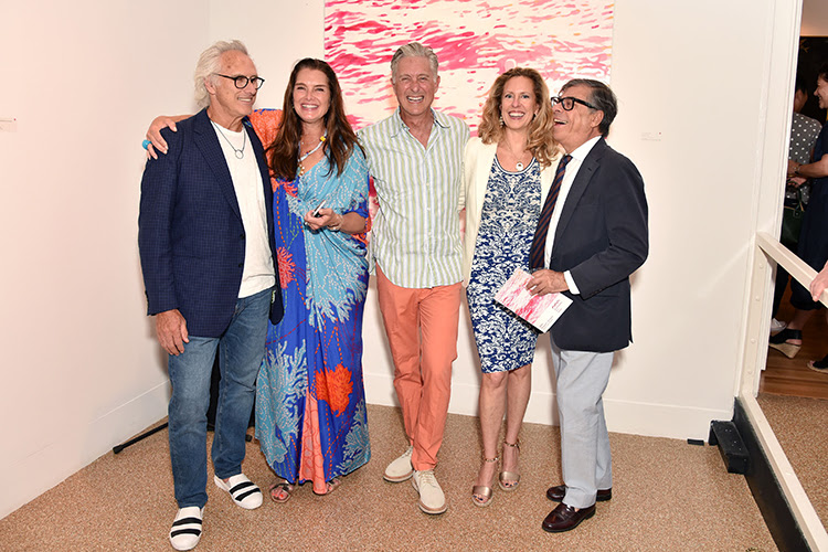 """Eric Fischl, Brooke Shields, David Kratz, Simone Levinson, and Bob Colacello at the opening reception for """"Water